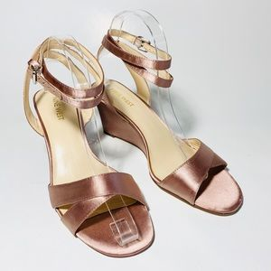 "Satin Wedge Ankle Straps ""Vartan"" by Nine West 8.5"